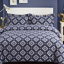 Damask Cotton Flannel Printed Oversized King Duvet Set