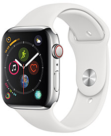 Apple Watch Series 4 GPS + Cellular, 44mm Stainless Steel Case with White Sport Band