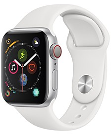 AppleWatch Series4 GPS+Cellular, 40mm Silver Aluminum Case with White Sport Band