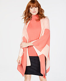 Charter Club Pure Cashmere Colorblocked Wrap Sweater