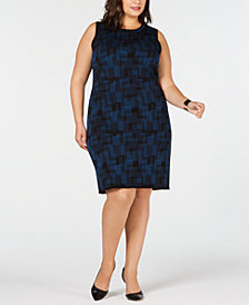 Anne Klein Plus Size Printed Sweater Dress