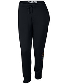 Nike Plus Size Sportswear Rally Metallic-Logo Pants