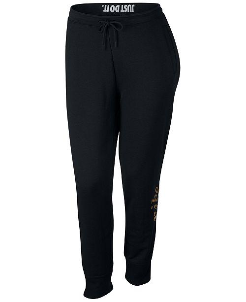 45a0ec3cbcd Nike Plus Size Sportswear Rally Metallic-Logo Pants - Pants   Capris ...