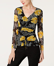 I.N.C. Mesh-Sleeve Ruched Top, Created for Macy's