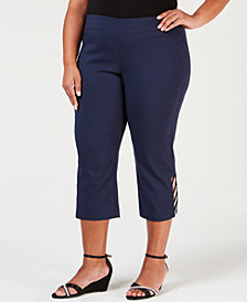 JM Collection Plus Size Embellished Capri Pants, Created for Macy's