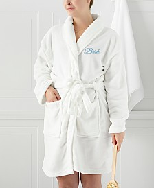 "Cathy's Concepts ""Bride"" White Plush Blue Embroidered Bath Robe"