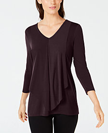 Alfani Petite Draped Layered-Look Top, Created for Macy's