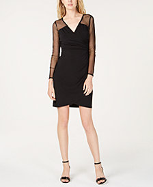 I.N.C. Petite Illusion-Sleeve Wrap Dress, Created for Macy's