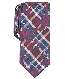 Bar III Men's Watson Plaid Floral Skinny Tie, Created for Macy's