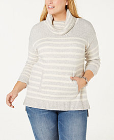 Charter Club Petite Striped Cowl-Neck Sweater, Created for Macy's