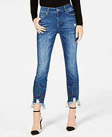 I.N.C. Petite Rainbow-Jewel-Embellished Skinny Ankle Jeans, Created for Macy's