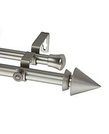 Cone Double Curtain Rod 13/16 inch dia 66-120 inch