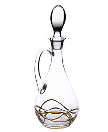 Classic Touch Vivid Wine Decanter With Handle- 14K Gold Swirl Design