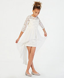 Sequin Hearts Big Girls Maxi-Overlay Sequin Lace Dress