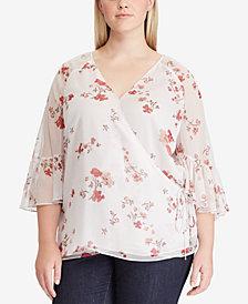 Lauren Ralph Lauren Plus Size Floral-Print Wrap Top