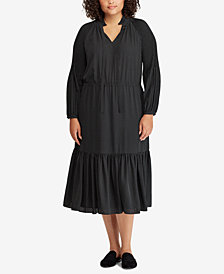 Lauren Ralph Lauren Plus Size Polka-Dot Georgette Dress