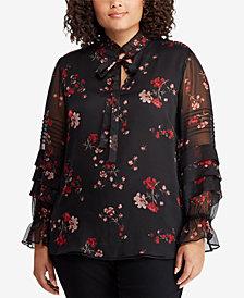 Lauren Ralph Lauren Plus Size Floral-Print Georgette Blouse