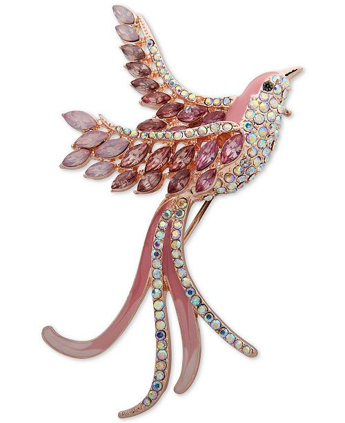 Anne Klein Gold-Tone Crystal Bird Pin, Created for Macy's