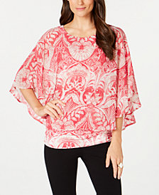 Alfani Flutter Sleeve Poncho Top, Created for Macy's