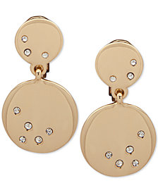 Anne Klein Gold-Tone Pavé Disc E-Z Comfort Clip-On Double Drop Earrings