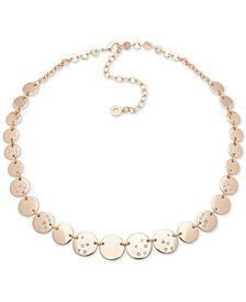 "Anne Klein Gold-Tone Pavé Disc Collar Necklace, 16"" + 3"" extender"