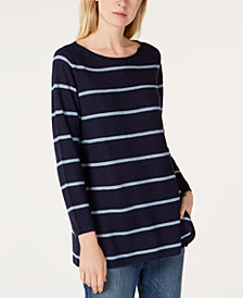 Eileen Fisher Boat-Neck Striped Sweater