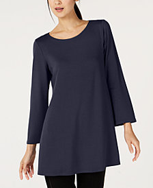 Eileen Fisher Scoop-Neck Wide-Sleeve Tunic