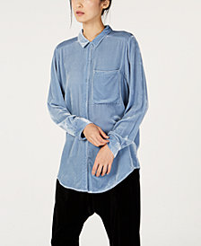 Eileen Fisher Velvet Button-Up Shirt, Regular and Petite