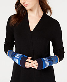Eileen Fisher Striped Merino Wool Glovettes