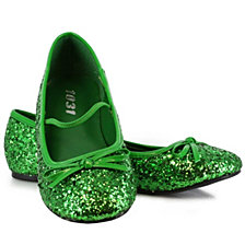 Green Sparkle Flat Big Girls Shoes