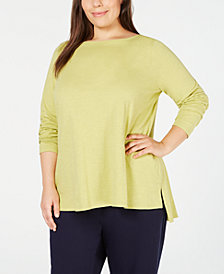 Eileen Fisher Plus Size Organic Cotton Boatneck Top