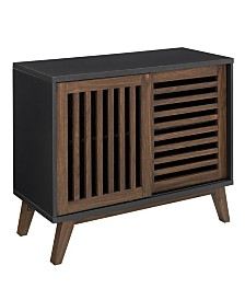 36 inch Sliding Slat Door Accent Console in Black and Dark Walnut