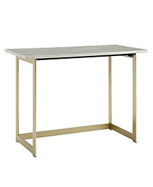 42 inch Faux Marble Desk with White Top and Gold Base