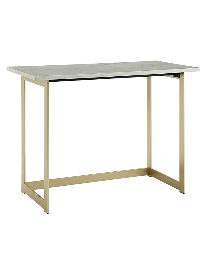 Walker Edison - 42 inch Faux Marble Desk with White Top and Gold Base