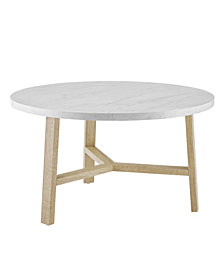 30 inch Round Coffee Table in Faux White Marble and Light Oak