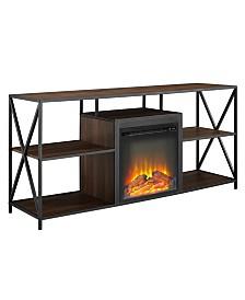 60 inch X Frame Open Shelf Fireplace Console
