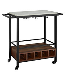 34 inch White Faux Marble Serving Bar Cart with Dark Walnut Base