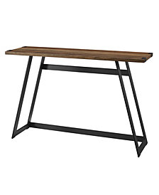 46 inch Metal Wrap Entry Table in Rustic Oak