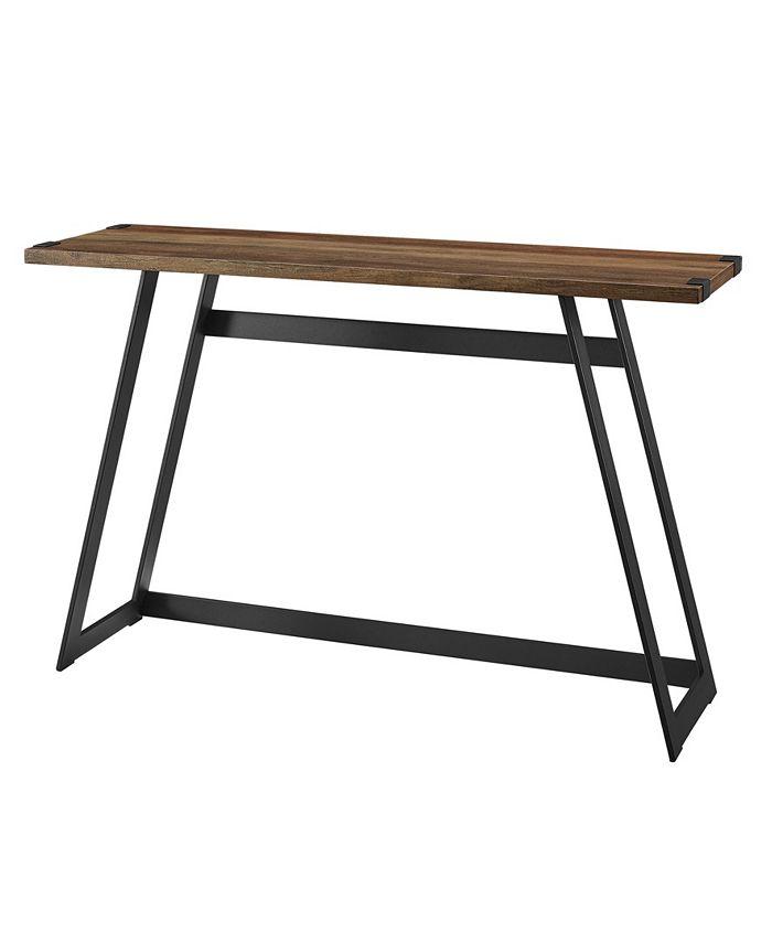 Walker Edison - 46 inch Metal Wrap Entry Table in Rustic Oak