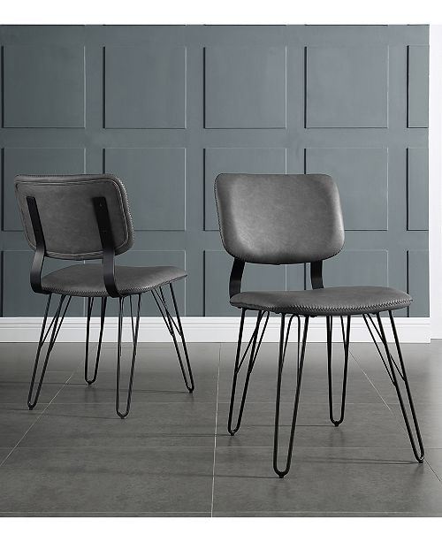 Fantastic 2 Flax Back Accent Dining Chairs With Black Stitching In Gray Uwap Interior Chair Design Uwaporg