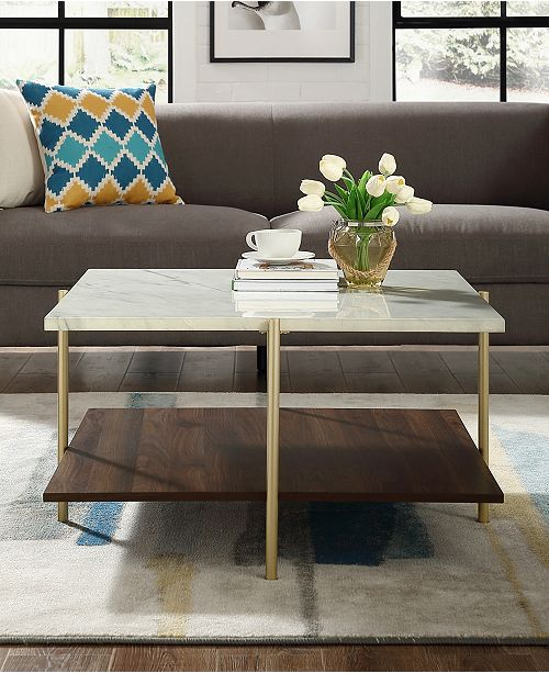 Walker Edison 32 Inch Square Coffee Table In Faux Marble And Gold Furniture Macy S