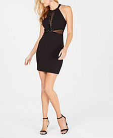 GUESS Embellished Illusion Bodycon Dress