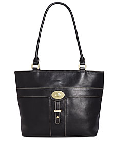 Giani Bernini Turn-Lock Glazed Tote, Created for Macy's