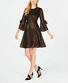 Nine West Metallic Bell-Sleeve Fit & Flare Dress