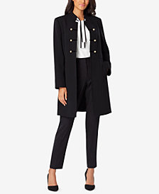 Tahari ASL Stand-Collar Button-Trim Topper Jacket