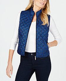 Karen Scott Petite Houndstooth Puffer Vest, Created for Macy's