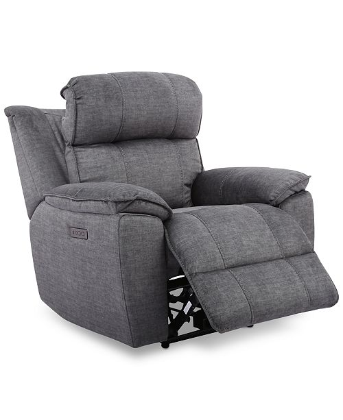 "Furniture Fordbridge 39.5"" Fabric Dual Power Recliner with USB Power Outlet"