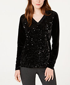 Tommy Hilfiger V-Neck Sequin Top