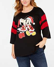 Mad Engine Plus Size Cotton Minnie & Mickey Mouse T-Shirt