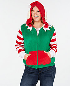 Planet Gold Trendy Plus Size Elf Zip-Front Hoodie